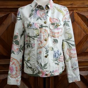 Lauren Ralph Lauren Floral Denim Jacket White L
